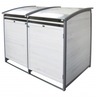 Mülltonnenbox Habau 120 L Doppel weiss / grau Holz ca. 122x76x116cm Bild 1
