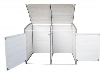 Mülltonnenbox Habau 120 L Doppel weiss / grau Holz ca. 122x76x116cm Bild 3