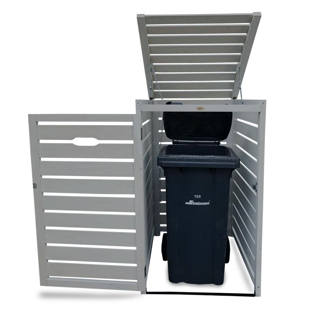Mülltonnenbox Habau 1x240L Holz grau 70x85x129cm Bild 4
