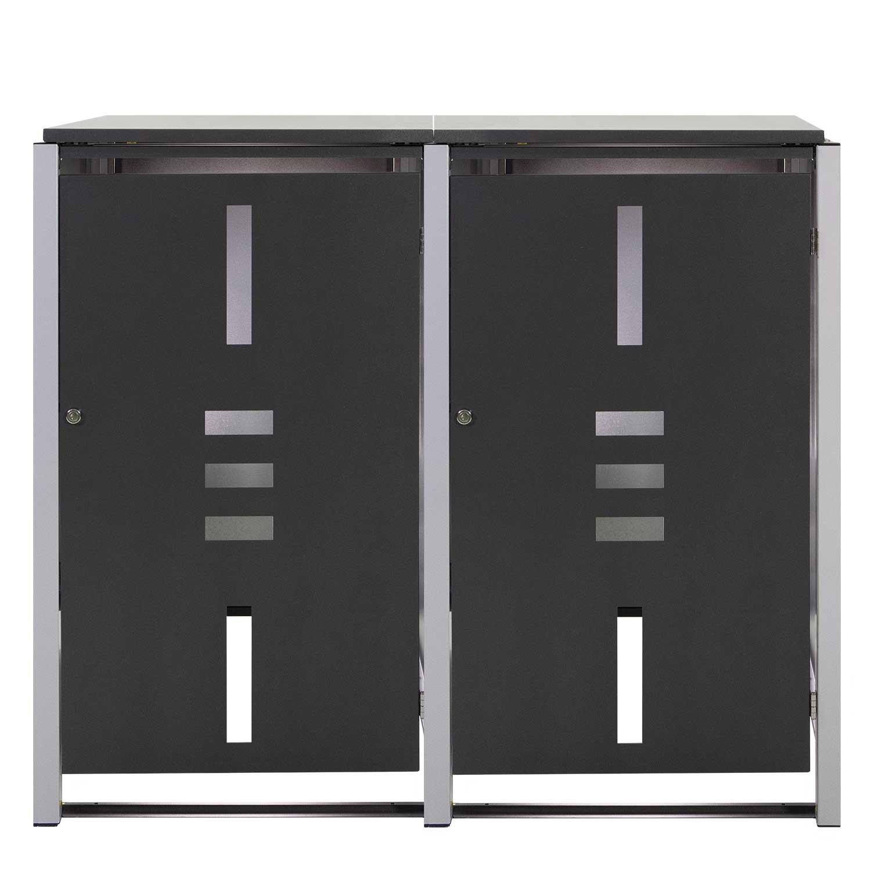 Mülltonnenbox Metall für 2 Mülltonnen mit Klappdeckel anthrazit Bild 1