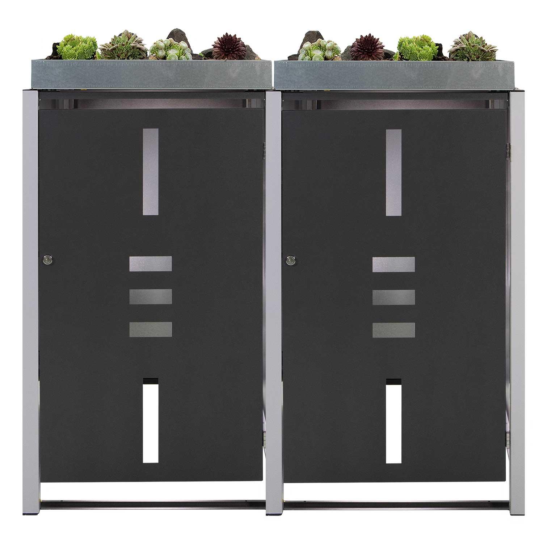 Mülltonnenbox Metall für 2 Mülltonnen mit Pflanzwanne anthrazit Bild 1