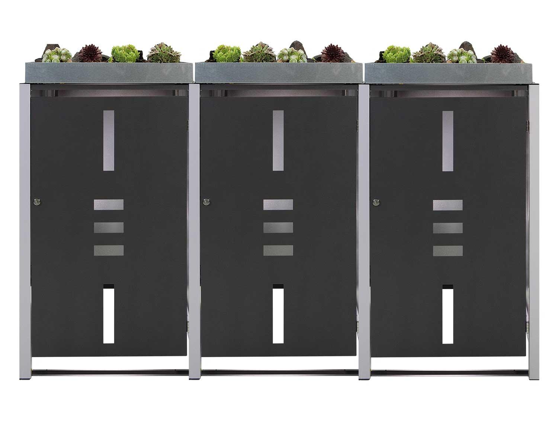Mülltonnenbox Metall für 3 Mülltonnen mit Pflanzwanne anthrazit Bild 1