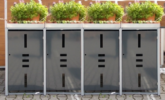 Mülltonnenbox Metall für 4 Mülltonnen mit Pflanzwanne anthrazit Bild 1