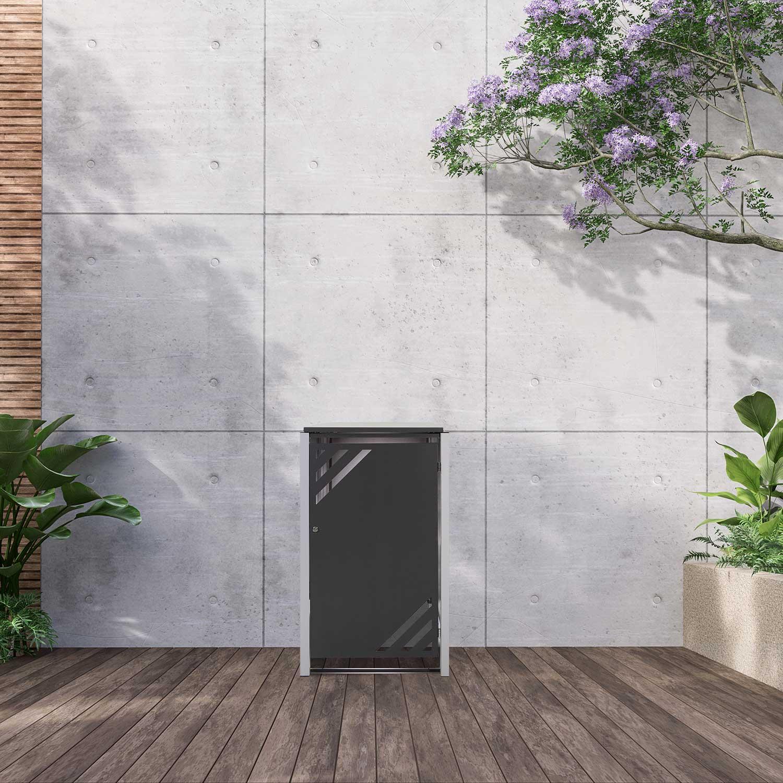 Mülltonnenbox für 1 Mülltonne mit Klappdeckel grau DB703/RAL9006 Bild 2