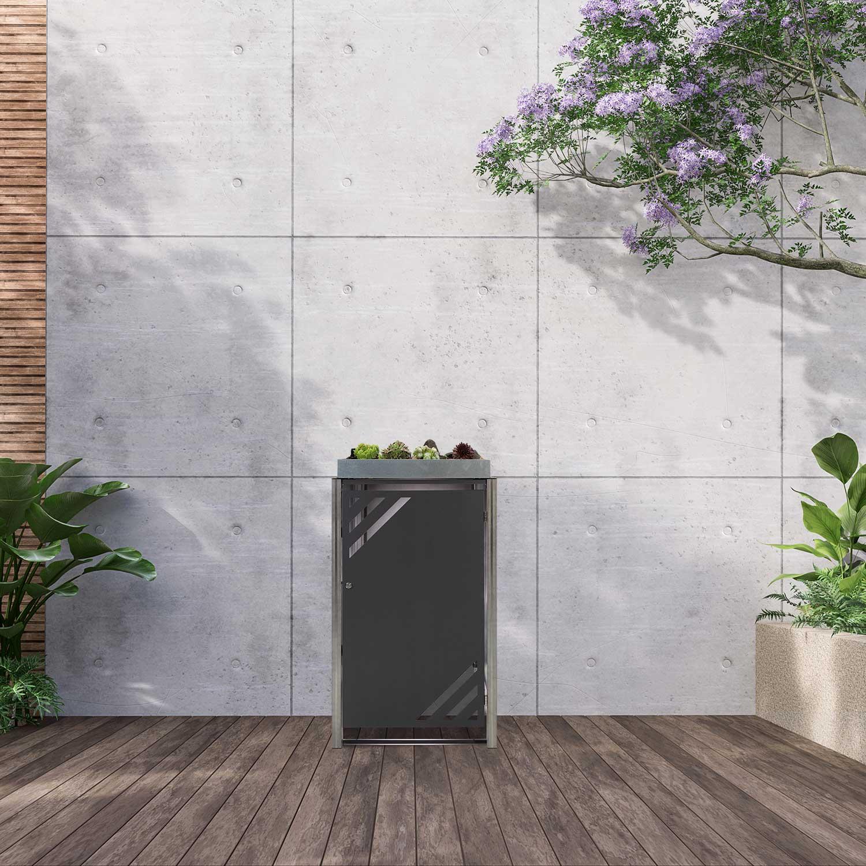Mülltonnenbox für 1 Mülltonne mit Klappdeckel grau / Edelstahl Bild 2