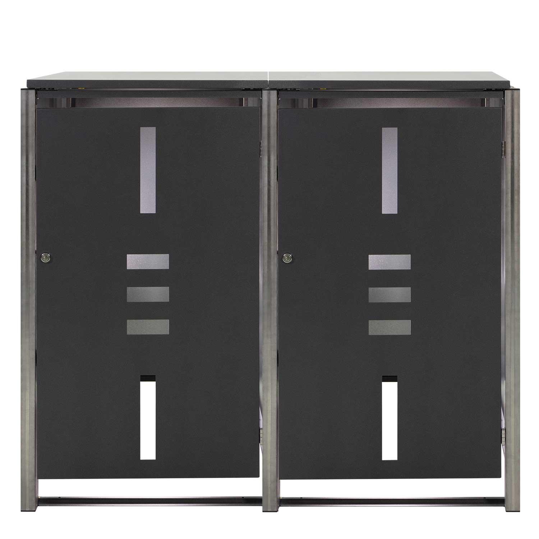 Mülltonnenbox für 2 Mülltonnen mit Klappdeckel anthrazit / Edelstahl Bild 1