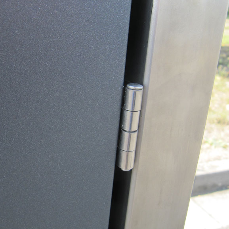 Mülltonnenbox für 2 Mülltonnen mit Klappdeckel grau / Edelstahl Bild 3