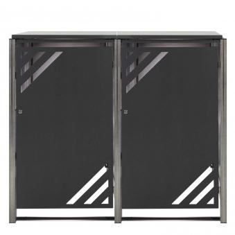 Mülltonnenbox für 2 Mülltonnen mit Klappdeckel grau / Edelstahl Bild 1