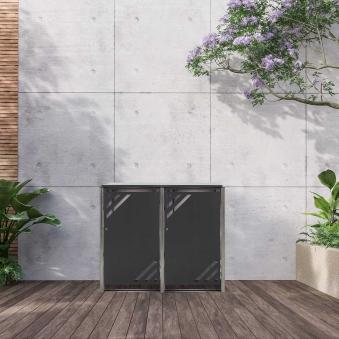 Mülltonnenbox für 2 Mülltonnen mit Klappdeckel grau / Edelstahl Bild 2