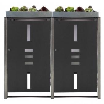 Mülltonnenbox für 2 Mülltonnen mit Pflanzwanne anthrazit / Edelstahl Bild 1