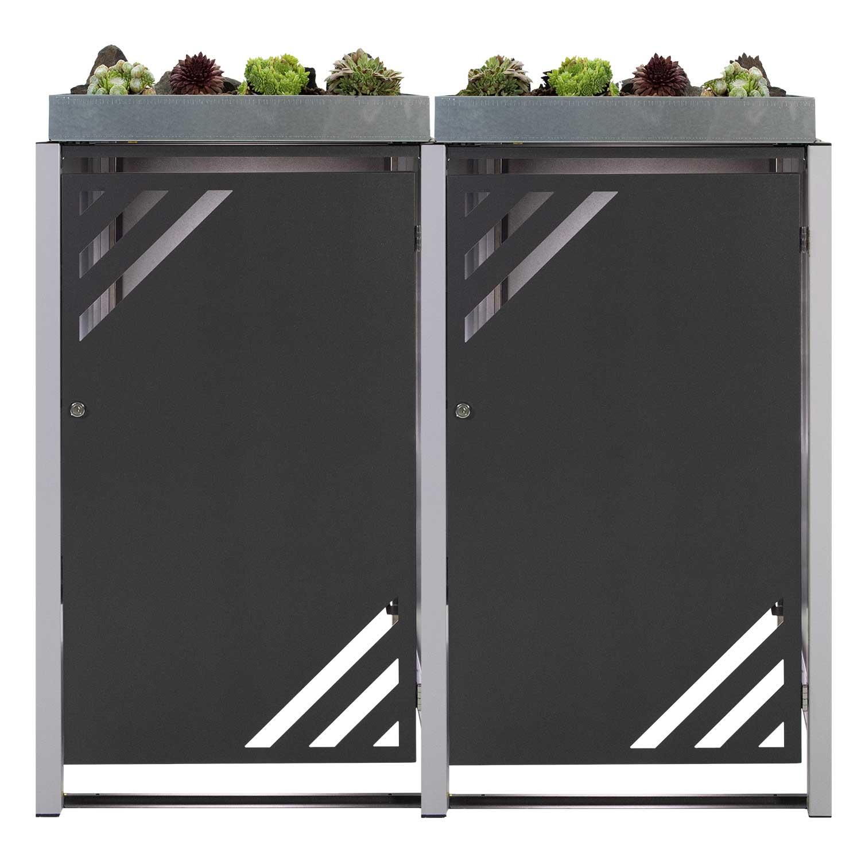 Mülltonnenbox für 2 Mülltonnen mit Pflanzwanne grau DB703/RAL9006 Bild 1