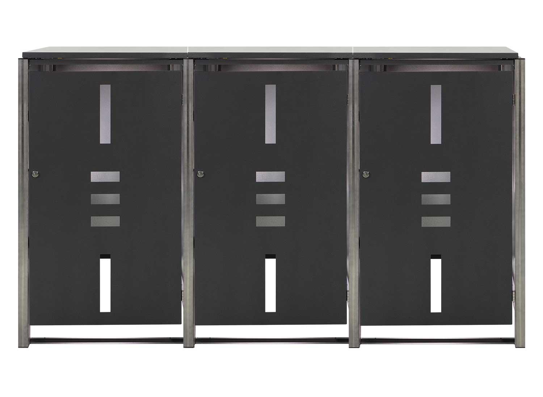 Mülltonnenbox für 3 Mülltonnen mit Klappdeckel anthrazit / Edelstahl Bild 1