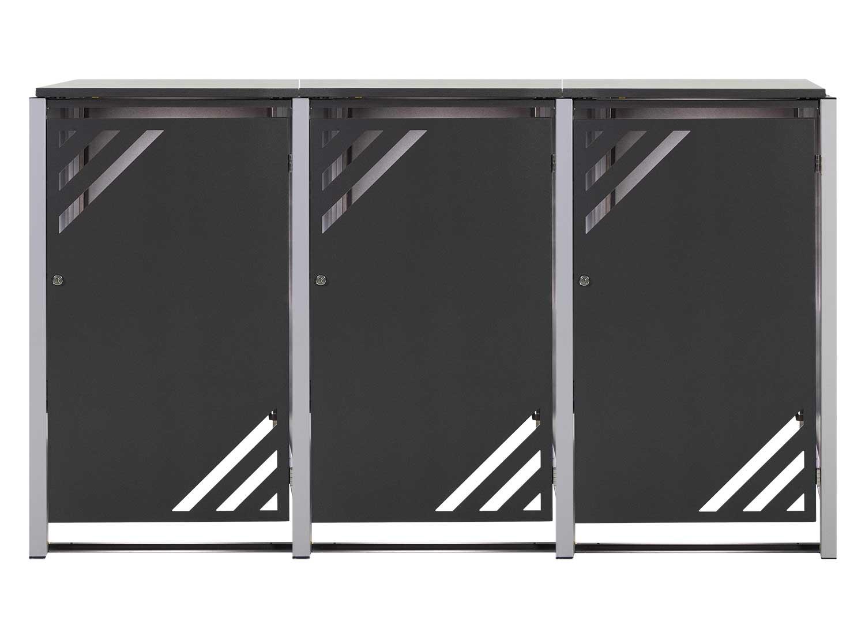 Mülltonnenbox für 3 Mülltonnen mit Klappdeckel grau DB703/RAL9006 Bild 1