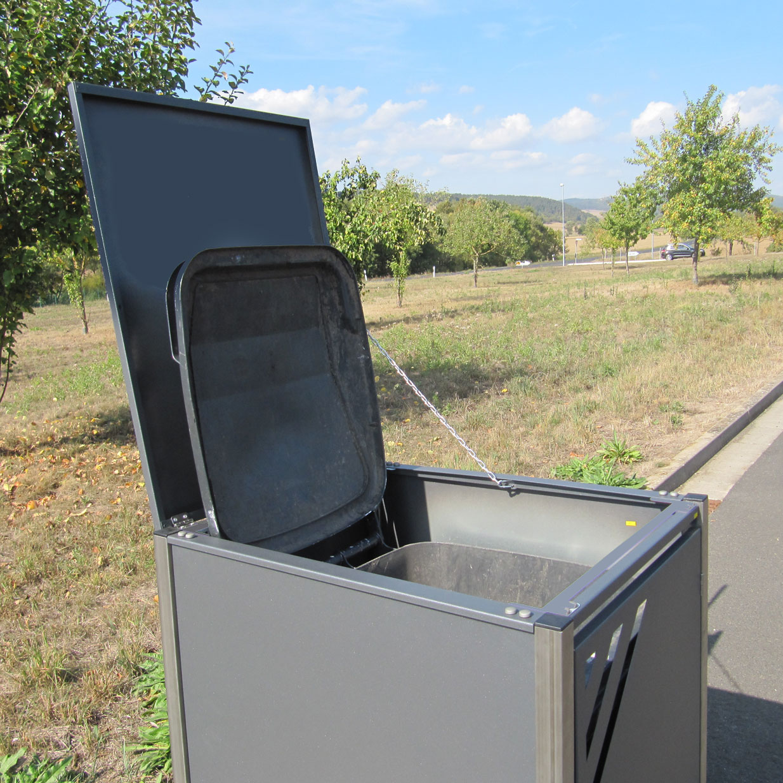 Mülltonnenbox für 3 Mülltonnen mit Klappdeckel grau DB703/RAL9006 Bild 2