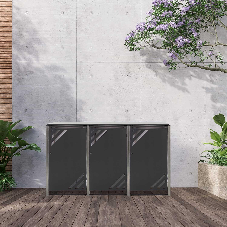 Mülltonnenbox für 3 Mülltonnen mit Klappdeckel grau / Edelstahl Bild 2