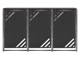 Mülltonnenbox für 3 Mülltonnen mit Klappdeckel grau / Edelstahl Bild 1
