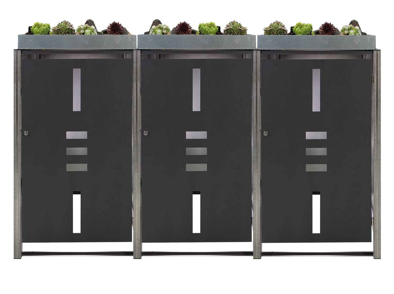 Mülltonnenbox für 3 Mülltonnen mit Pflanzwanne anthrazit / Edelstahl Bild 1
