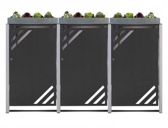 Mülltonnenbox für 3 Mülltonnen mit Pflanzwanne grau DB703/RAL9006 Bild 1