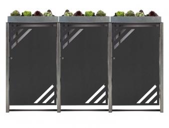 Mülltonnenbox für 3 Mülltonnen mit Pflanzwanne grau / Edelstahl Bild 1