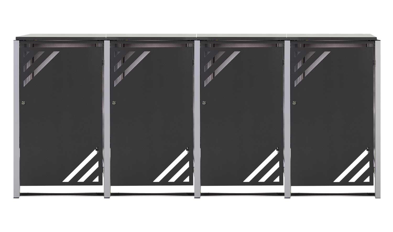 Mülltonnenbox für 4 Mülltonnen mit Klappdeckel grau DB703/RAL9006 Bild 1