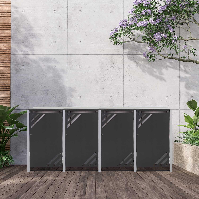 Mülltonnenbox für 4 Mülltonnen mit Klappdeckel grau DB703/RAL9006 Bild 2