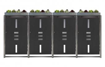 Mülltonnenbox für 4 Mülltonnen mit Pflanzwanne anthrazit / Edelstahl Bild 1