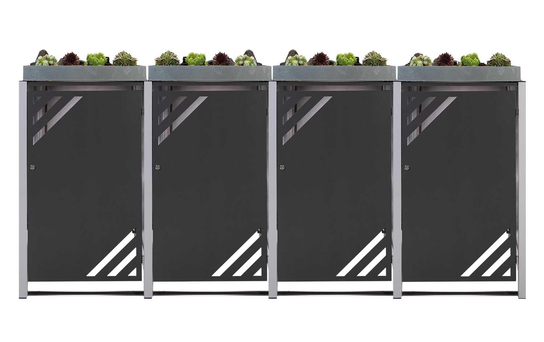 Mülltonnenbox für 4 Mülltonnen mit Pflanzwanne grau DB703/RAL9006 Bild 1