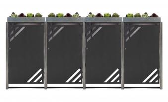 Mülltonnenbox für 4 Mülltonnen mit Pflanzwanne grau / Edelstahl Bild 1