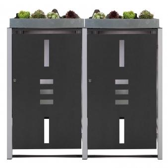 m lltonnenbox metall f r 2 m lltonnen mit pflanzwanne anthrazit bei. Black Bedroom Furniture Sets. Home Design Ideas