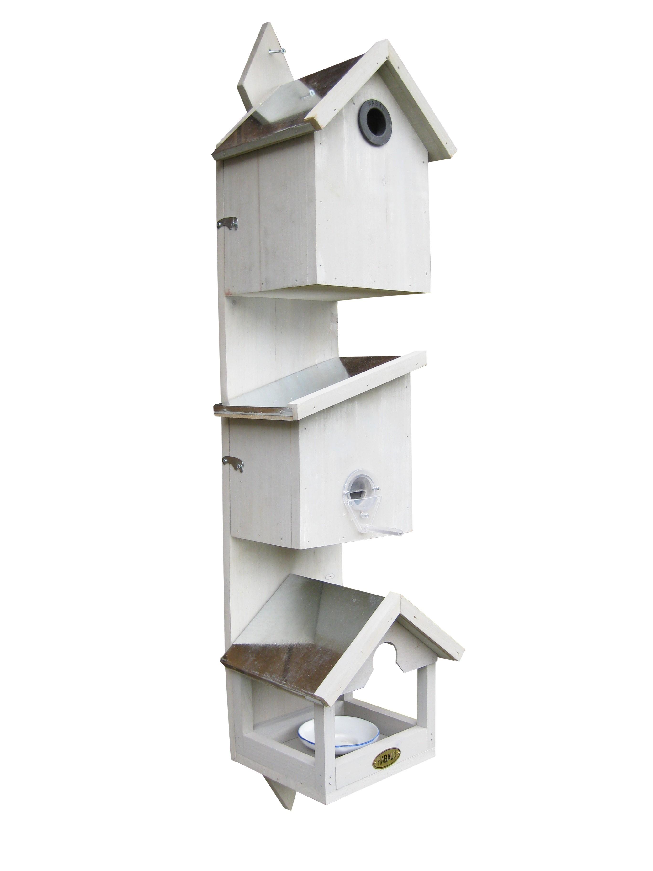 vogelhaus habau triple 3in1 mit nistkasten wasser und futterstation bei. Black Bedroom Furniture Sets. Home Design Ideas