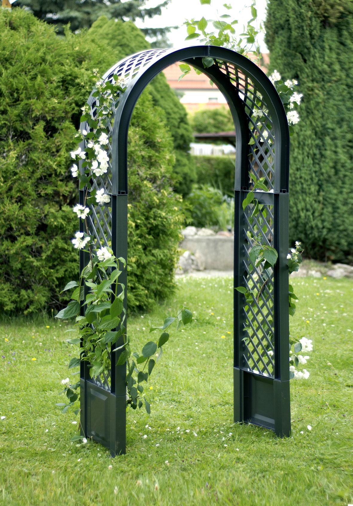 Rosenbogen KHW mit Erdspießen Kunststoff grün 100x43x207cm Bild 1