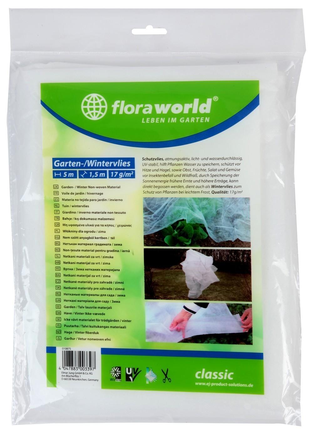 Gartenvlies / Schutzvlies classic floraworld 5x1,5m weiß Bild 1