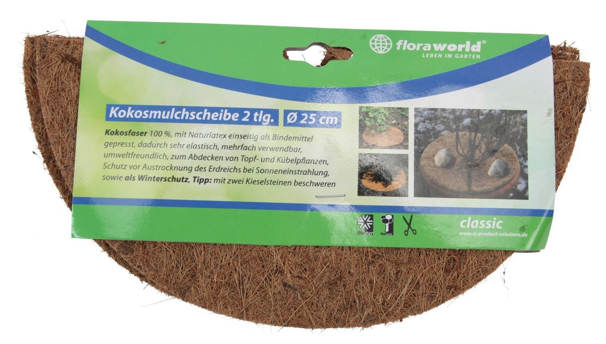 Kokosmulchscheibe classic floraworld 2-teilig Ø25cm braun Bild 1