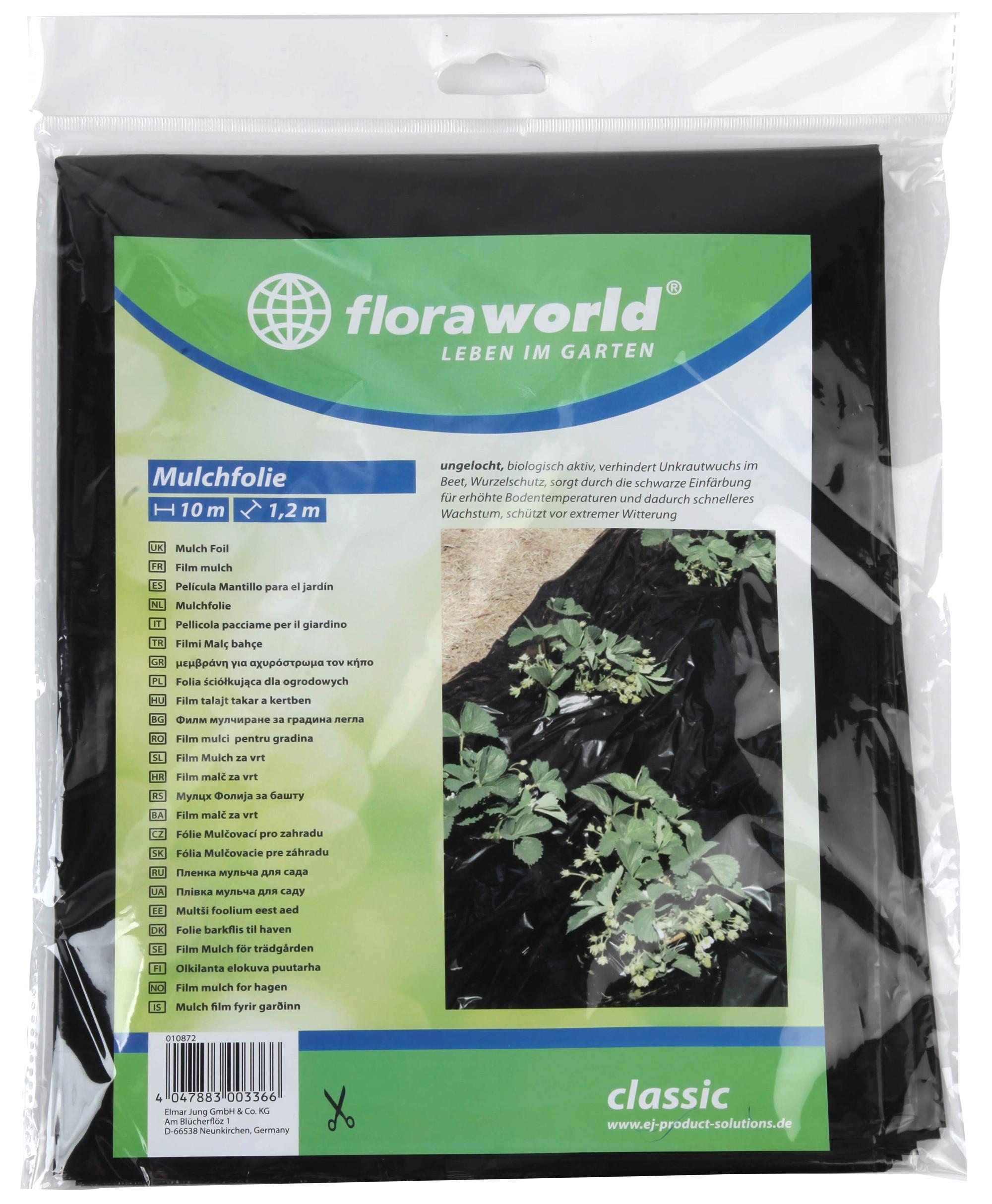 Mulch Folie ungelocht classic floraworld 10x1,2m schwarz Bild 1