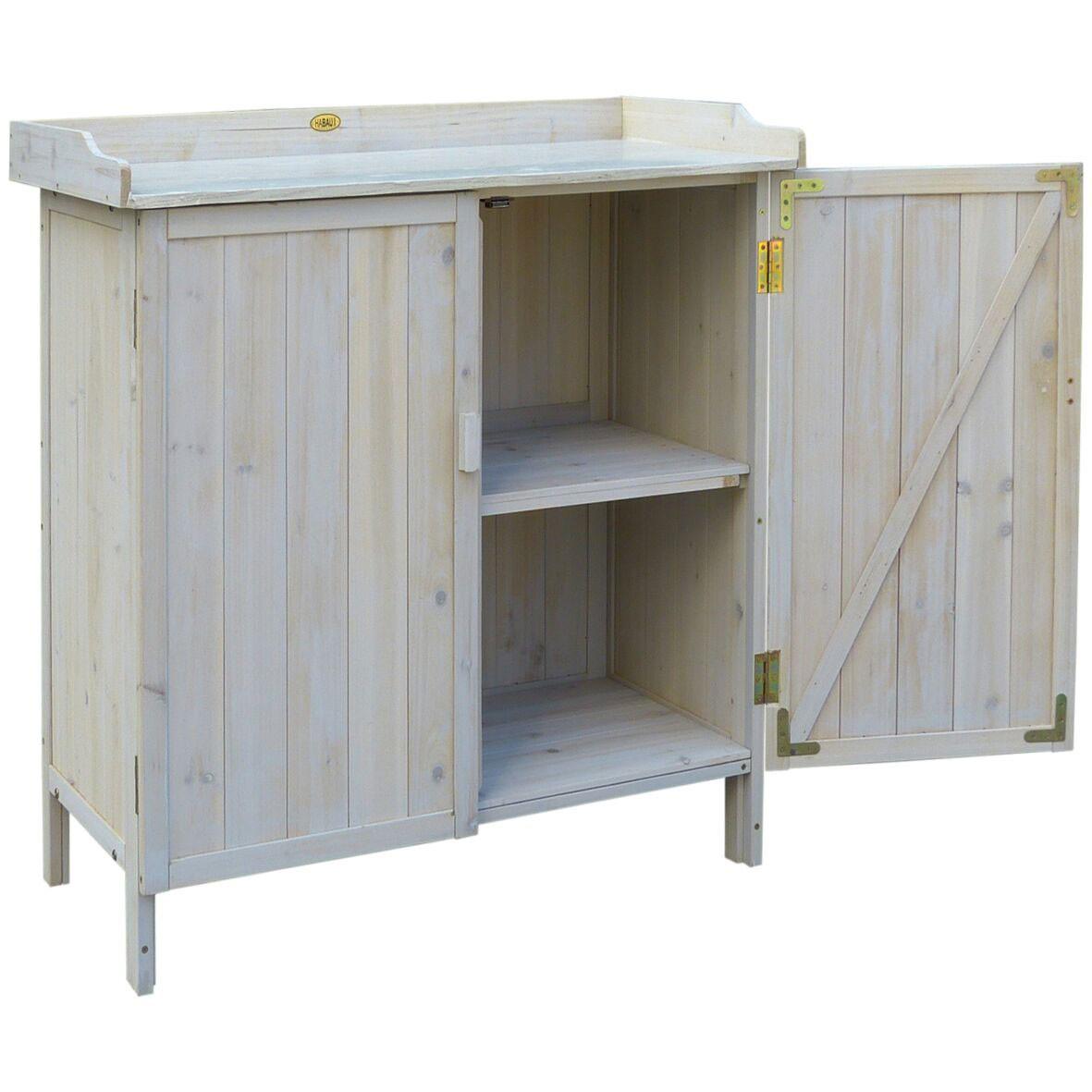 pflanztisch gartentisch habau mit unterschrank lino 98x48x95cm bei. Black Bedroom Furniture Sets. Home Design Ideas