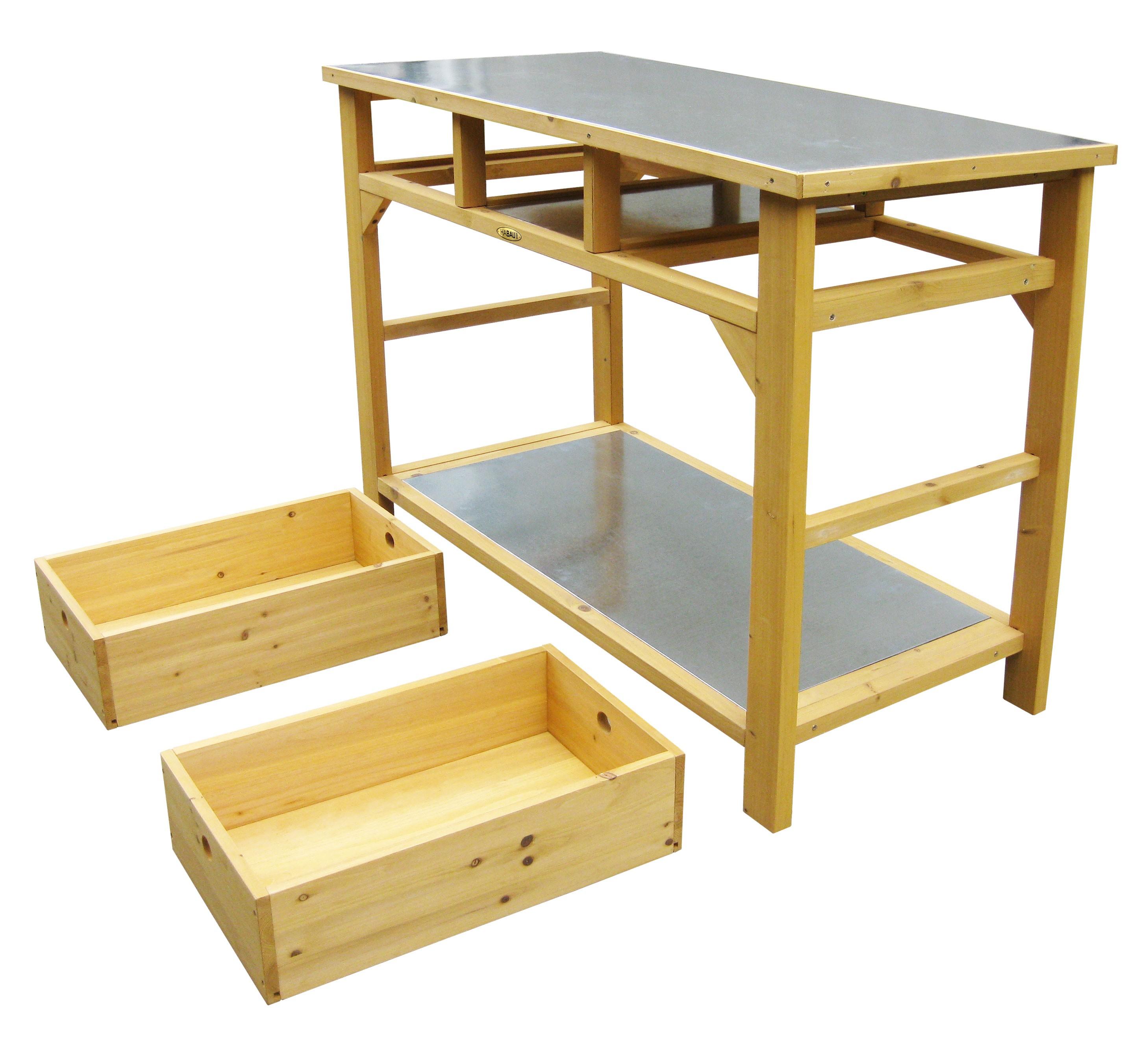 pflanztisch habau schublade verzinkte arbeitspl 110x55x99cm bei. Black Bedroom Furniture Sets. Home Design Ideas