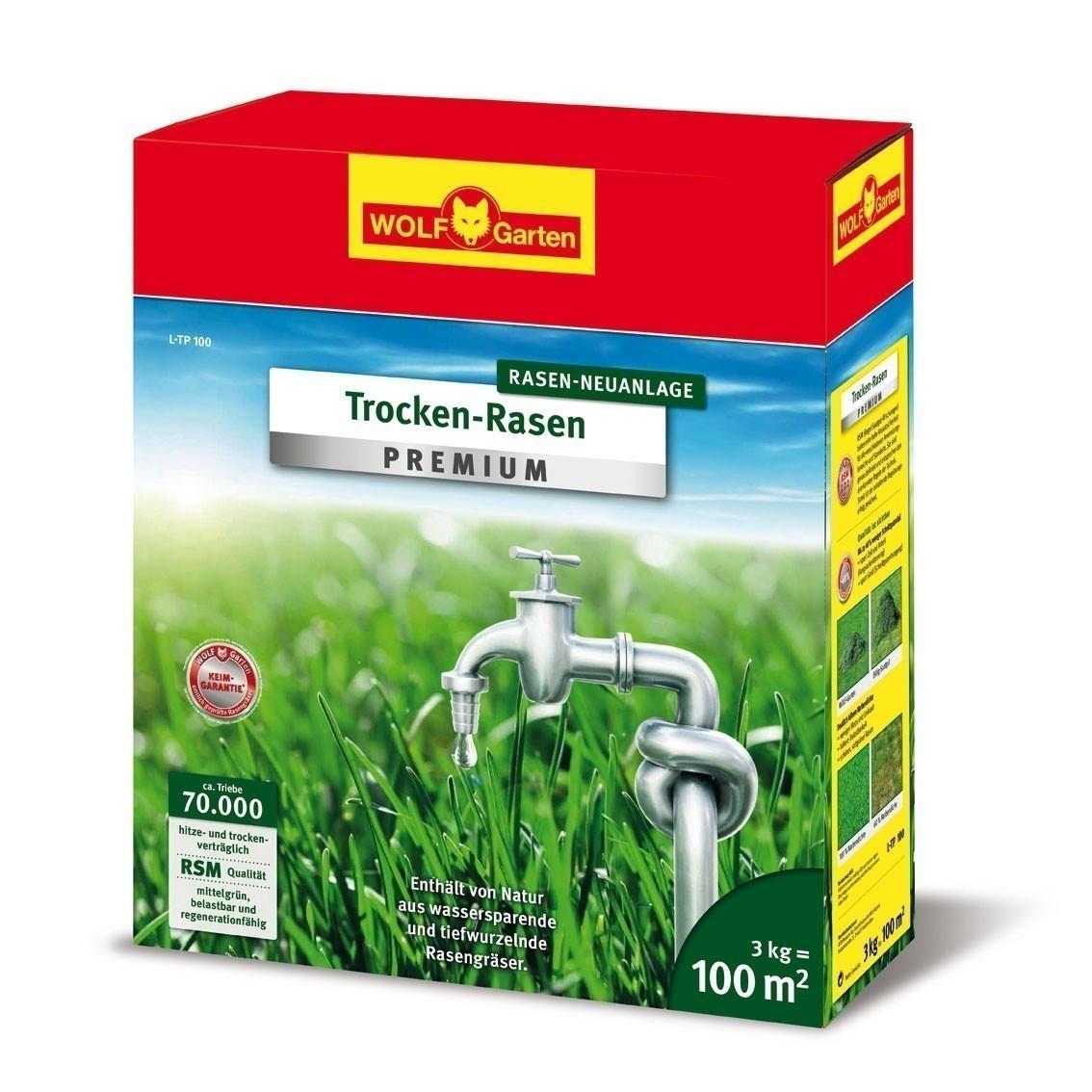 Wolf Garten Rasensamen Trocken-Rasen Premium Saatgut L-TP100 für 100m² Bild 1