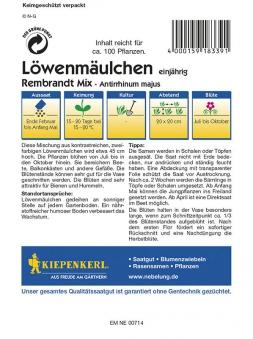Kiepenkerl Saatgut Mischung Löwenmäulchen Rembrandt Mix Bild 2
