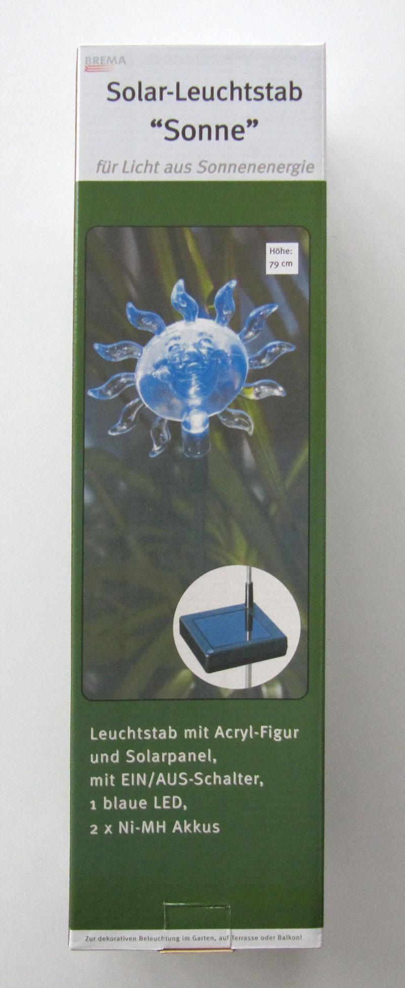 LED Solar Leuchtstab / Gartenstecker Sonne 79cm Bild 1