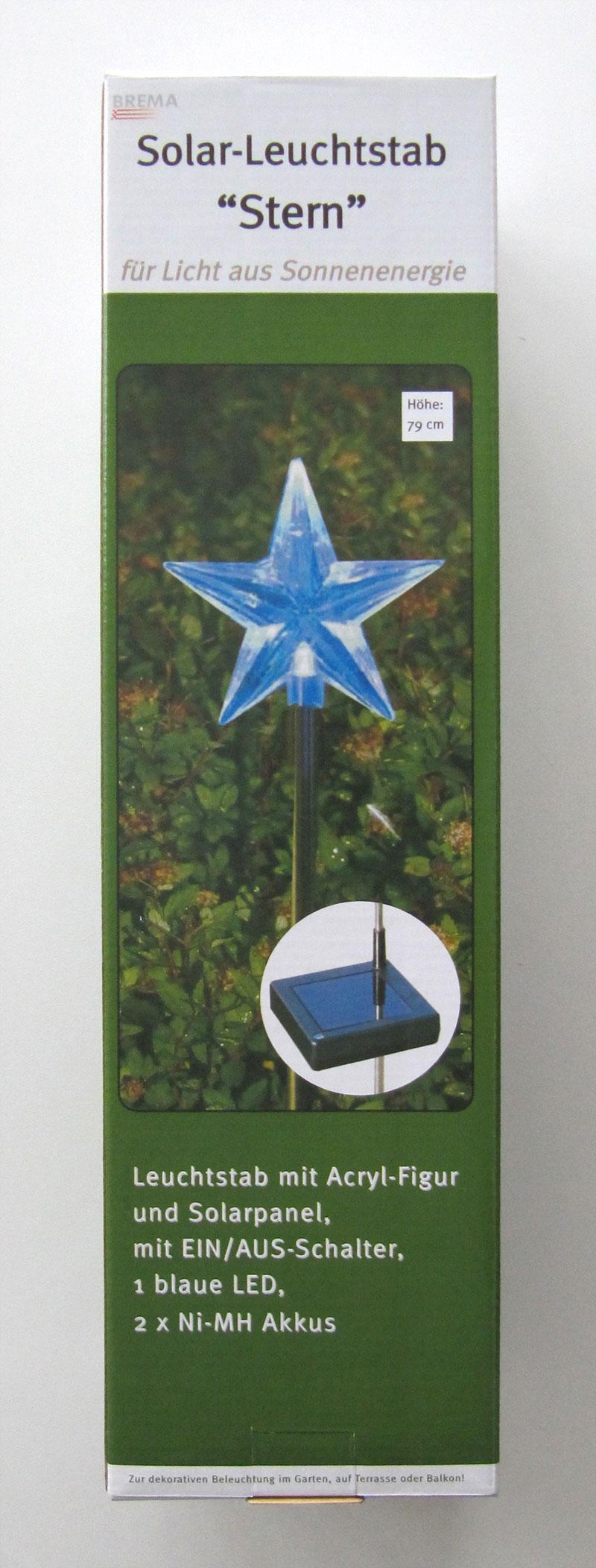 LED Solar Leuchtstab / Gartenstecker Stern 79cm Bild 1