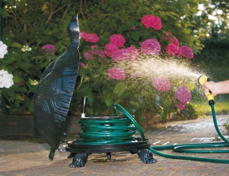 Schlauchaufroller Schildkröte Aluminiumguss schwarz Bild 2