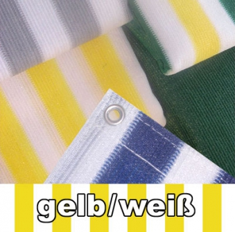 Balkon Sichtschutz / Balkonumspannung 500x90cm gelb/weiß gestreift Bild 1