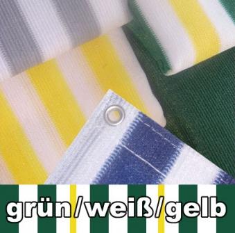 Balkon Sichtschutz / Balkonumspannung 500x90cm grün/weiß/gelb gestr. Bild 1