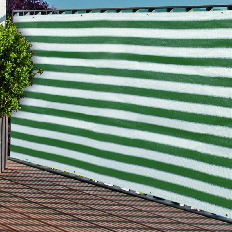 Sichtschutzzaun / Balkonblende mit Ösen Noor 90x250cm grün weiß Bild 1