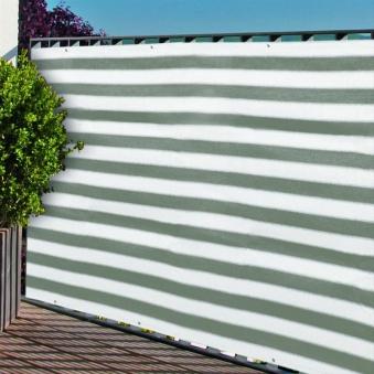 Sichtschutzzaun / Balkonblende mit Ösen Noor 90x300cm grau weiß Bild 1