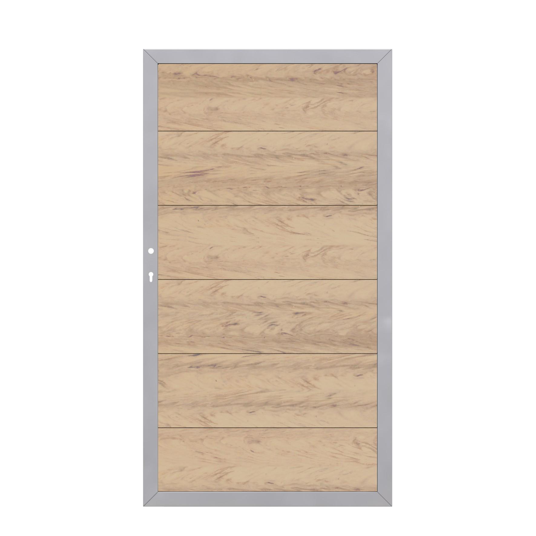 sichtschutzzaun tor design wpc alu sand din links 98x180cm bei. Black Bedroom Furniture Sets. Home Design Ideas