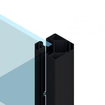 Sichtschutzzaun SYSTEM Eck Klemmpfosten anthrazit 6,6x6,6x105cm Bild 1