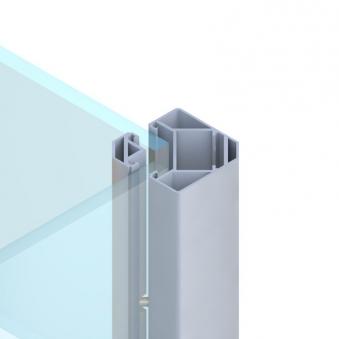 Sichtschutzzaun SYSTEM Eck Klemmpfosten silber 6,6x6,6x105cm Bild 1