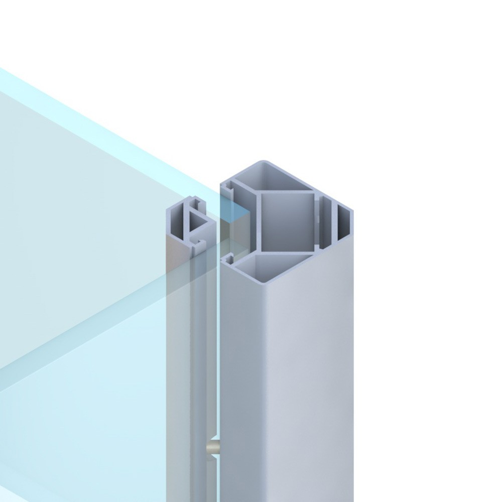 Sichtschutzzaun SYSTEM Eck Klemmpfosten silber 6,6x6,6x192,5cm Bild 1