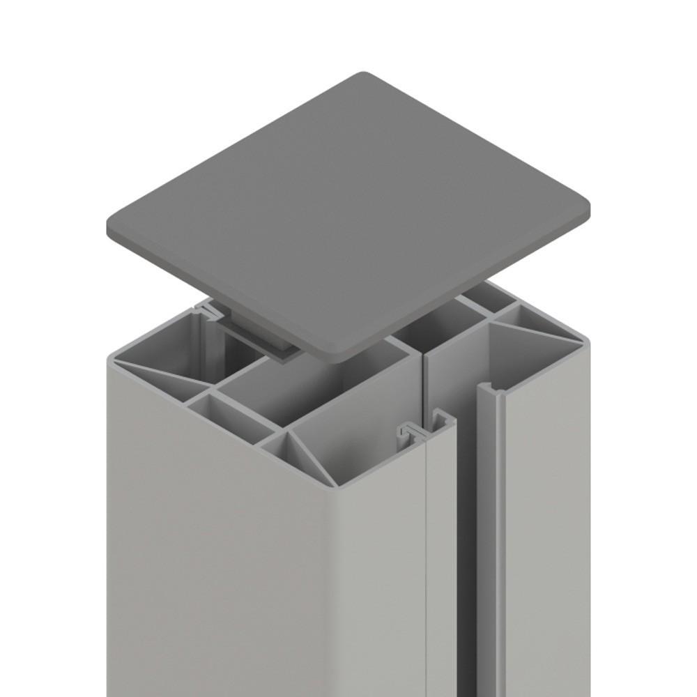 Sichtschutzzaun SYSTEM Klemmpfosten silber 7,7x7,4x192,5cm Bild 1